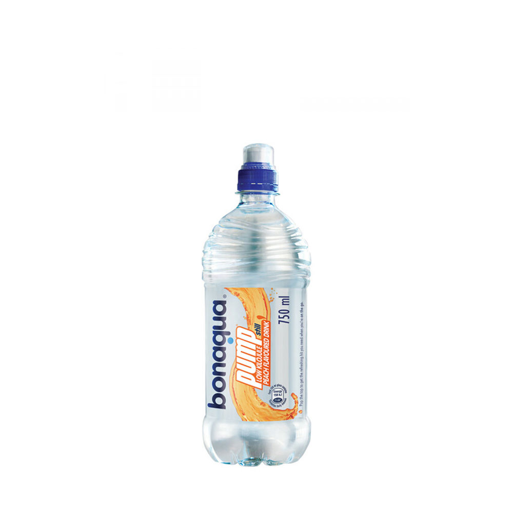 bonaqua pump peach flavoured 750ml sports cap