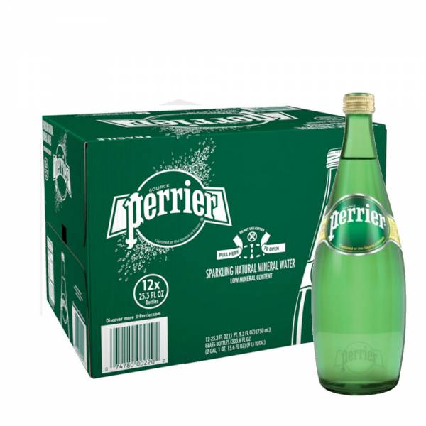 perrier sparkling water 12x750ml glass