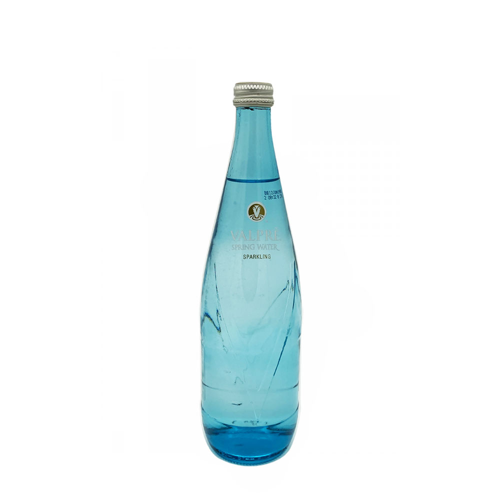 valpre sparkling water 750ml glass bottle