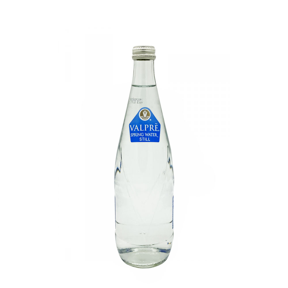 valpre still water 750ml glass bottle