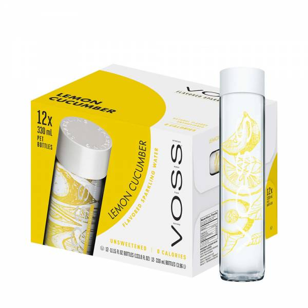 voss lemon cucumber sparkling water 12x375ml